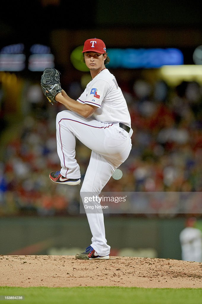 Texas Rangers Yu Darvish (11) in action, pitching vs Baltimore Orioles at Rangers Ballpark. Greg Nelson F168 )