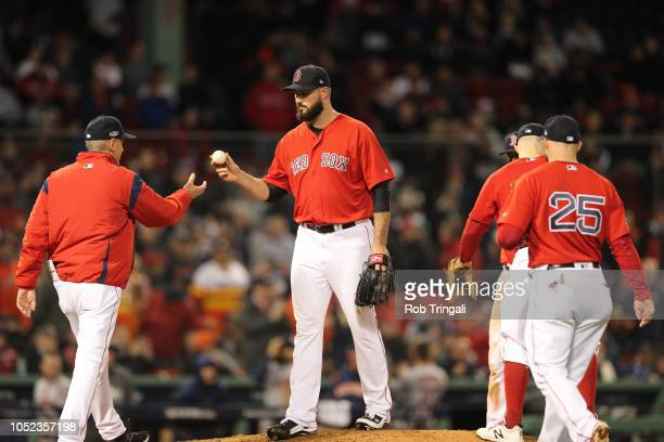 ALCS Playoffs Boston Red Sox Brandon Workman walking off mound during pitching change during game vs Houston Astros at Fenway Park Game 1 Boston MA...
