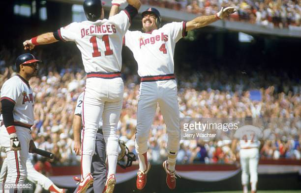 ALCS Playoffs California Angels Bobby Grich victorious giving high five to Doug DeCinces after hitting 2run home run during 6th inning of Game 5 vs...