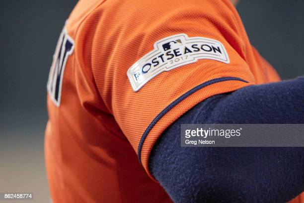 ALCS Playoffs Closeup of Houston Astros Alex Bregman's sleeve with POSTSEASON 2017 logo during game vs New York Yankees at Minute Maid Park Game 1...