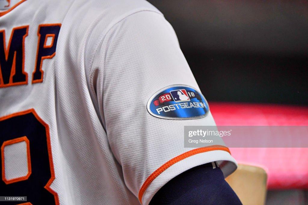 Closeup view of 2018 Postseason patch on Houston Astros