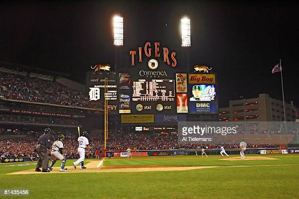 Baseball ALCS Playoffs Detroit Tigers Magglio Ordonez in action hitting game winning walk off home run vs Oakland Athletics View of scoreboard at...