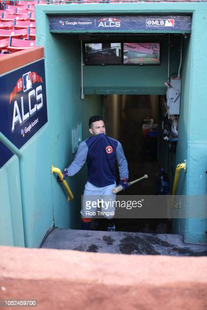 Houston Astros Jose Altuve enters the dugout before Game 2 vs Boston Red Sox at Fenway Park Boston MA CREDIT Rob Tringali