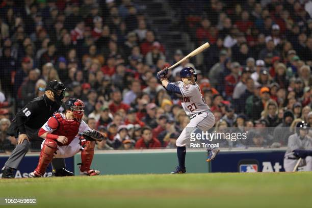 Houston Astros Jose Altuve in action at bat vs Boston Red Sox at Fenway Park Game 2 Boston MA CREDIT Rob Tringali