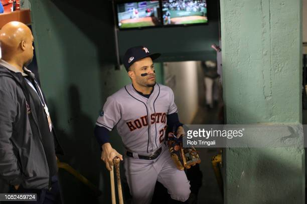 Houston Astros Jose Altuve in dugout during game vs Boston Red Sox at Fenway Park Game 2 Boston MA CREDIT Rob Tringali