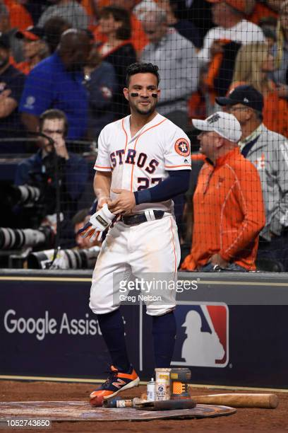 Houston Astros Jose Altuve on deck during game vs Boston Red Sox at Minute Maid Park Game 3 Houston TX CREDIT Greg Nelson