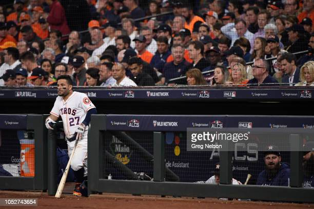 Houston Astros Jose Altuve standing at dugout during game vs Boston Red Sox at Minute Maid Park Game 3 Houston TX CREDIT Greg Nelson