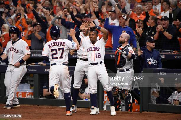 Houston Astros Tony Kemp victorious in front of dugout with Jose Altuve during game vs Boston Red Sox at Minute Maid Park Game 3 Houston TX CREDIT...