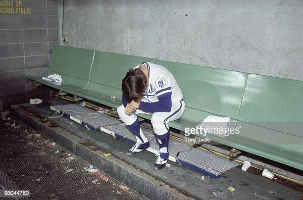 ALCS Playoffs Kansas City Royals Freddie Patek upset alone in dugout after losing Game 5 and series vs New York Yankees Kansas City MO 10/9/1977...