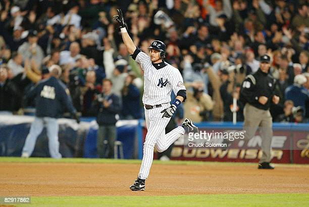 ALCS Playoffs New York Yankees Aaron Boone victorious after hitting game winning home run vs Boston Red Sox Game 7 Bronx NY CREDIT Chuck Solomon
