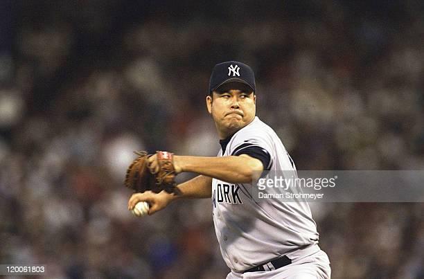 ALCS Playoffs New York Yankees Hideki Irabu in action pitching vs Boston Red Sox at Fenway Park Game 3 Boston MA CREDIT Damian Strohmeyer