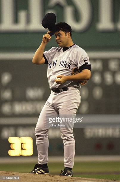 ALCS Playoffs New York Yankees Hideki Irabu on mound during Game 3 vs Boston Red Sox at Fenway Park Boston MA CREDIT John Biever
