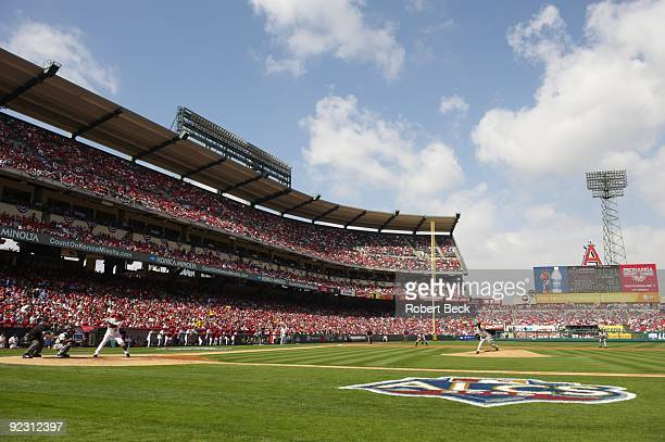ALCS Playoffs Overall angle view of Angel Stadium as New York Yankees Andy Pettitte in action pitching vs Los Angeles Angels of Anaheim Game 3...