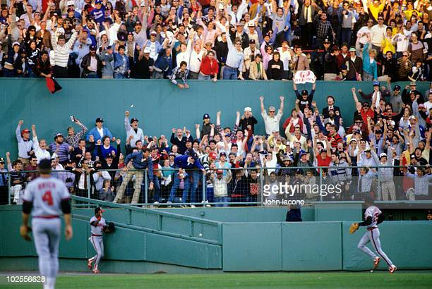 ALCS Playoffs View of Boston Red Sox fans in stands during Game 2 vs California Angels at Fenway Park Boston MA 10/8/1986 CREDIT John Iacono 079006804