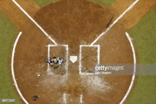 ALDS Playoffs Aerial view of Chicago White Sox AJ Pierzynski in action fielding pop up foul ball vs Tampa Bay Rays at home plate during 4th inning...