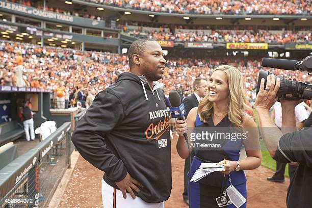 ALDS Playoffs Baltimore Orioles Delmon Young during interview after winning game vs Detroit Tigers at Camden Yards Game 2 Baltimore MD CREDIT Al...