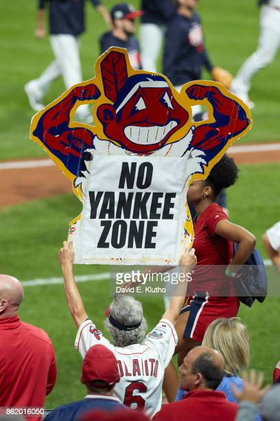 ALDS Playoffs Cleveland Indians fans in stands with sign that reads NO YANKEE ZONE during game vs New York Yankees at Progressive Field Game 1...