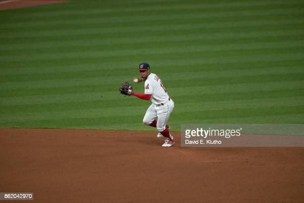 ALDS Playoffs Cleveland Indians Francisco Lindor in action throwing vs New York Yankees at Progressive Field Game 1 Sequence Cleveland OH CREDIT...
