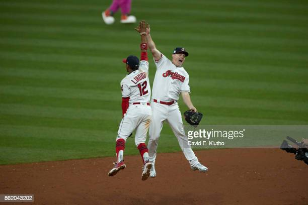 ALDS Playoffs Cleveland Indians Francisco Lindor victorious with Jay Bruce after winning game vs New York Yankees at Progressive Field Game 1...