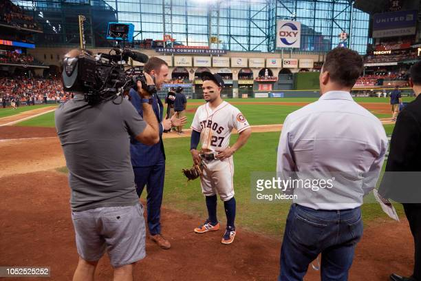 Houston Astros Jose Altuve during interview on field after winning Game 2 vs Cleveland Indians at Minute Maid Park Media Houston TX 10/6/2018 CREDIT...