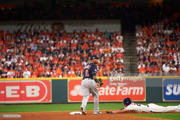 Houston Astros Myles Straw in action slide into second base vs Cleveland Indians Jose Ramirez at Minute Maid Park Game 2 Houston TX 10/6/2018 CREDIT...