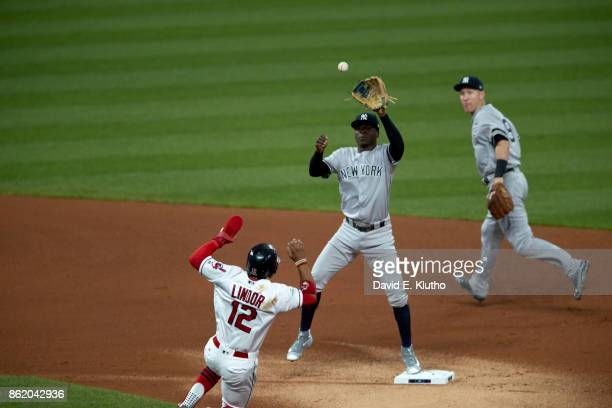 ALDS Playoffs New York Yankees Didi Gregorius in action fielding vs Cleveland Indians Francisco Lindor at Progressive Field Game 1 Cleveland OH...