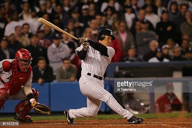 Baseball ALDS Playoffs New York Yankees Hideki Matsui in action at bat vs Los Angeles Angels of Anaheim Game 4 Bronx NY 10/9/2005