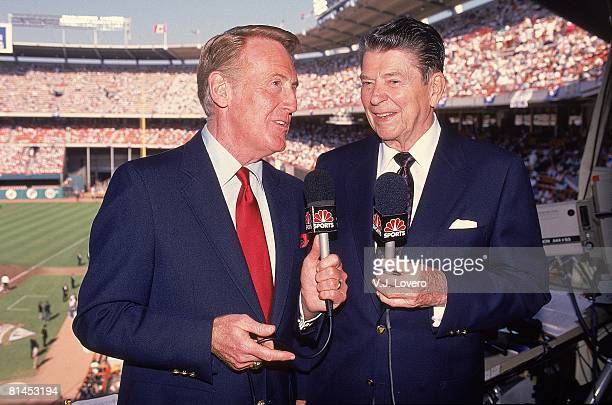 Baseball All Star Game Closeup of President Ronald Reagan with NBC Sports announcer Vin Scully media Anaheim CA 7/11/1989