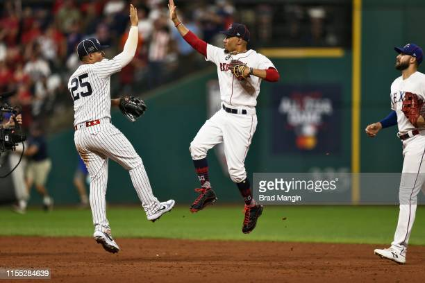 AllStar Game Boston Red Sox Mookie Betts victorious wiht New York Yankees Gleyber Torres after winning game vs National League at Progressive Field...
