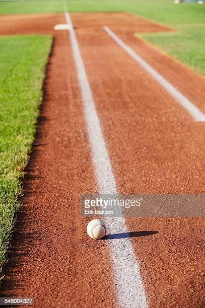 Baseball along baseline