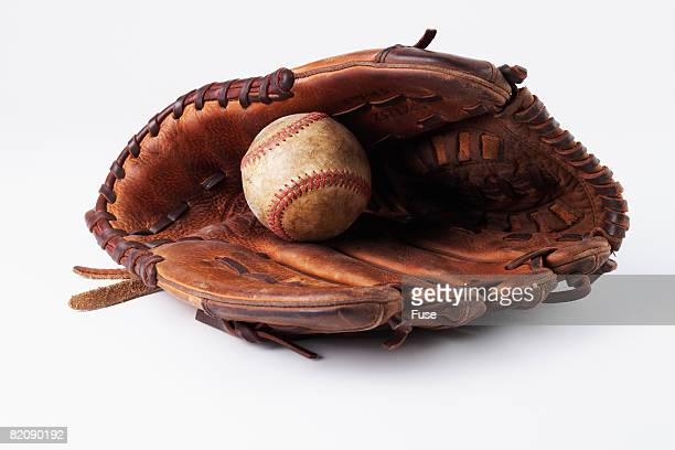 baseball and glove - baseball glove stock pictures, royalty-free photos & images