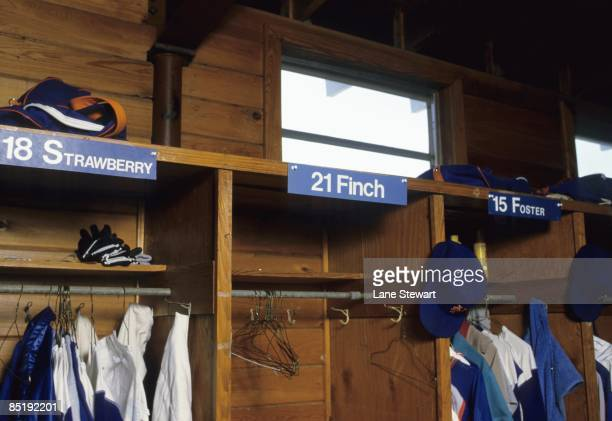 April Fools' Day Story View of lockers equipment of New York Mets Darryl Strawberry fictional character Hayden Sidd Finch and George Foster during...