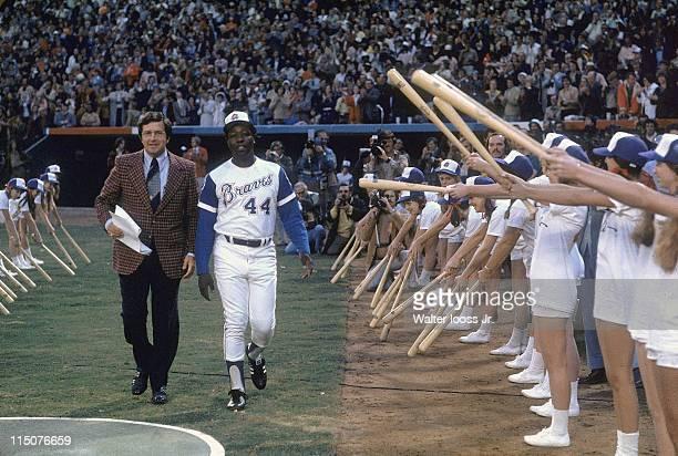 Atlanta Braves Hank Aaron during ceremony before game vs Los Angeles Dodgers at Atlanta Stadium Aaron would hit his 715th career home run to break...
