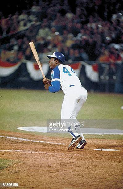 Baseball Atlanta Braves Hank Aaron in action after hitting 715th career HR and breaking Babe Ruth's record during game vs Los Angeles Dodgers Atlanta...