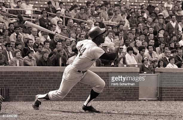 Baseball Atlanta Braves Hank Aaron in action at bat vs Chicago Cubs Chicago IL 5/11/1970