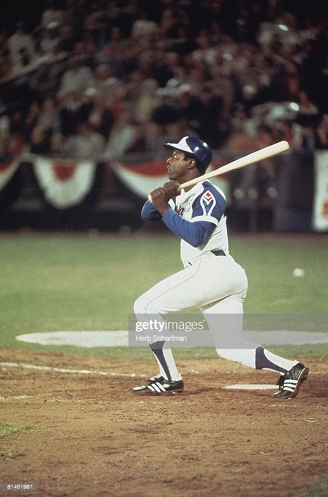 Atlanta Braves Hank Aaron in action, hitting 715th career HR and breaking Babe Ruth's record during game vs Los Angeles Dodgers, Atlanta, GA 4/8/1974