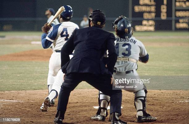 Atlanta Braves Hank Aaron in action hitting 715th career home run and breaking Babe Ruth's record during game vs Los Angeles Dodgers at Atlanta...