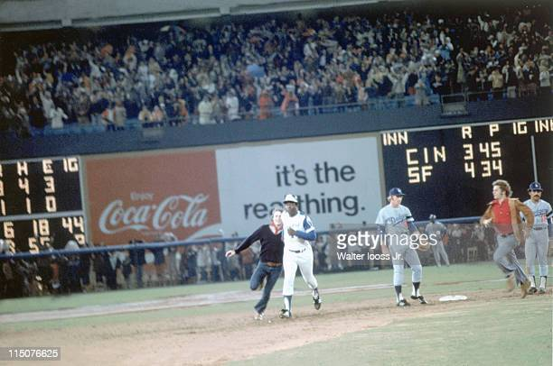 Atlanta Braves Hank Aaron in action rounding bases after hitting 715th career home run and breaking Babe Ruth's record during game vs Los Angeles...