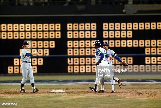 Atlanta Braves Hank Aaron in action vs Los Angeles Dodgers at Atlanta Stadium after hitting his 715th career homerun to eclipse Babe Ruth's record...