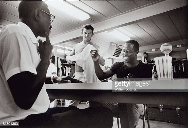 Baseball Atlanta Braves Hank Aaron playing cards in the clubhouse