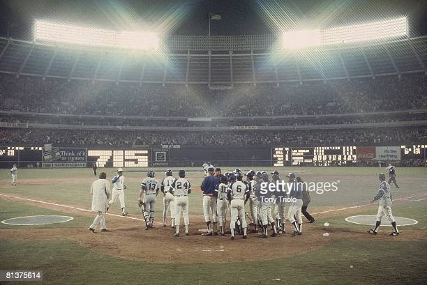 Baseball Atlanta Braves Hank Aaron victorious with team after hitting 715th career home run and breaking Babe Ruth's record during game vs Los...