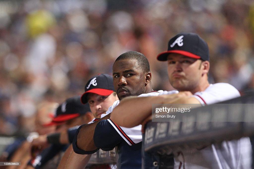 Atlanta Braves Jason Heyward (22) in dugout during game vs Chicago Cubs. Atlanta, GA 4/7/2010