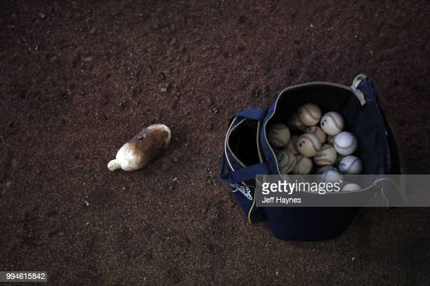Bag of baseballs in bullpen at game between Milwaukee Brewers and Kansas City Royals at Miller Park Milwaukee WI CREDIT Jeff Haynes