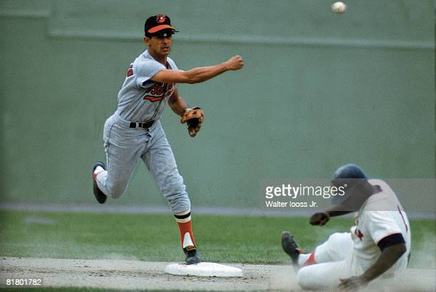 Baseball Baltimore Orioles Luis Aparicio in action vs Boston Red Sox Boston MA 8/22/1966