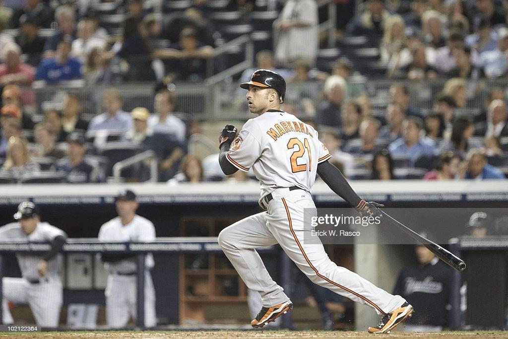 Baltimore Orioles Nick Markakis (21) in action, at bat vs New York Yankees. Bronx, NY 5/4/2010