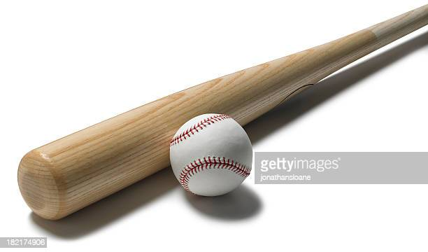 baseball bat and ball on white background - baseball bat stock pictures, royalty-free photos & images