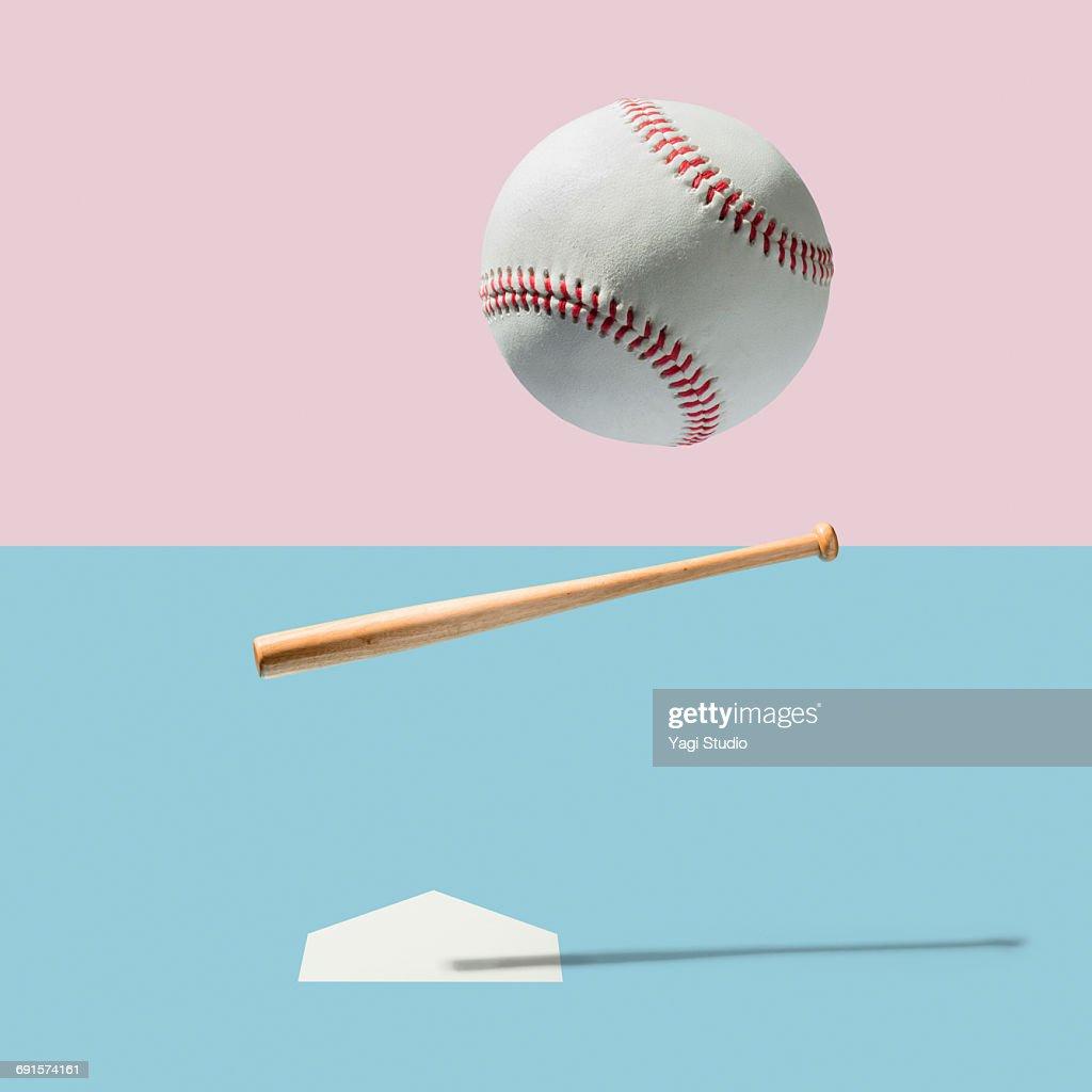 Baseball bat and Baseball Ball : Stock Photo