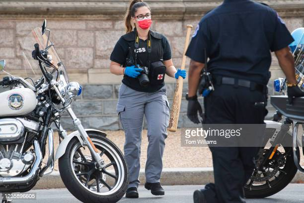 Baseball bat is recovered after Olivia Romano was arrested for wielding it while attacking U.S. Capitol Police on 1st Street near the west front of...