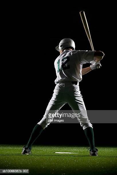 Baseball batter in batting stance, rear view
