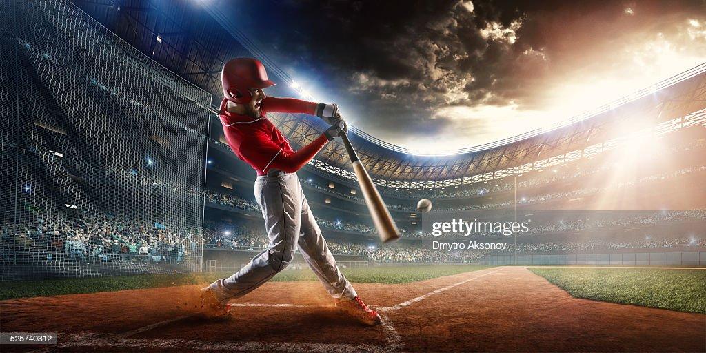Baseball batter on stadium : Stock Photo
